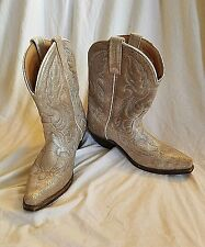 Laredo Women's sz 7 M Metallic Silver Distressed Leather Cowboy Boots Short