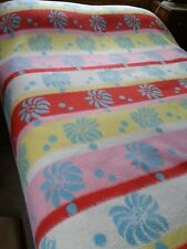 Vintage floral funky pink/blue reversible small double blanket 76 x 86 inc K1