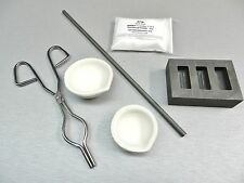 MELTING KIT MELT & POUR 2 CRUCIBLES -HANDLE -ROD -BORAX & INGOT TORCH MELT SCRAP
