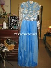Sherri Hill 1933 Blue Nude Gala Pageant Gown Dress sz 10