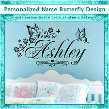 Personalized Custom Name Butterfly Flower Wall Art Decor Heart Sticker Decal 023