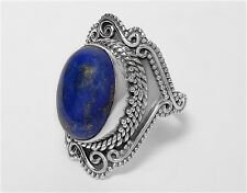 SOLID 925 STERLING SILVER LAPIS LAZULI GEMSTONE RING JEWELLERY