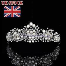Pearls Tiara Headband Crystal Rhinestone Crown Wedding Bridal Party Hair Jewelry