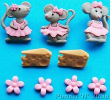 THE MICE GIRLS - Grey Mouse Pink Dress Cheese Flower Dress It Up Craft Buttons