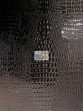 "VINYL PLEATHER EMBOSSED SHINY AMAZON CROCODILE FABRIC - Black - 58""/60"" SOLD BTY"