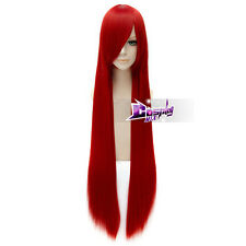 Red 100CM Long Straight Wig for Fairy Tail Erza·Scarlet Cosplay Wig + Wig Cap