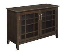 Simpli Home Connaught Low Storage Cabinet, Dark Chestnut Brown