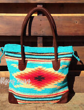Southwest Tote Bag Handwoven Purse Suede Aztec Western Native Indian Cowgirl NEW