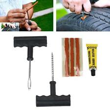 A Set Tubeless Tyre Tire Puncture Repair Plug Kit Needle Patch Fix Tools Cement