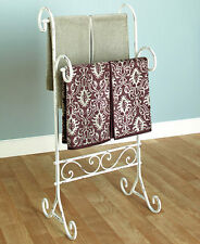 Bathroom Metal Towel Stand Vintage Shabby Chic Distressed Towels Holder Display