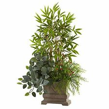 "Nearly Natural Mixed Mini Bamboo- Fittonia & Springeri with Planter- 38"" NEW"