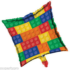 "Lego inspired, Building Blocks Mylar Balloon 18"" Birthday party supplies"