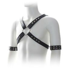 Mens black leather cross chest harness studs adjustable size clubwear straps