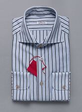 New KITON NAPOLI Tailored-Fit Blue Gray Striped Shirt 16.5 US / 42 IT $795 KT210