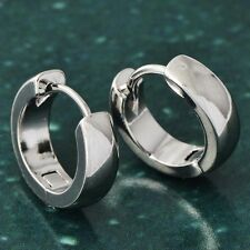 Mens Cool White Gold Plated Silver hip hop Punk Hoop Earrings