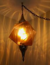 Vintage Hollywood Regency SWAG Lamp Hanging Light Mid Century Amber Glass 1970s