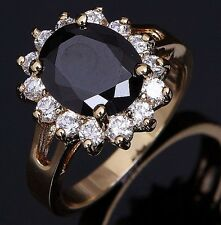 Fashion Jewelry Size 9 Women Solitaire 18K Gold Filled Black Topaz Wedding Ring