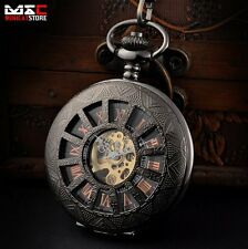 Black Antique Mechanical Skeleton Steampunk Mens Pocket Watch Gift Chain Retro