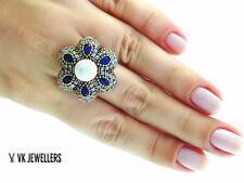 TURKISH HANDMADE JEWELRY STERLING 925 SILVER SIZE 8 PEARL RING R1814