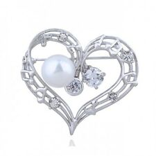 18K WHITE GOLD PLATED AND GENUINE SWAROVSKI CRYSTAL & PEARL HEART  BROOCH