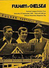 Football Programme FULHAM v CHELSEA Sept 1975
