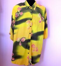 WeBeBop Size 5X Big Tunic Long Top Yellow Green Under the Sea Blouse Flat Rayon