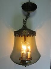 Vintage Hanging Ceiling Mounted Smoked Glass & Brass 3 Bulb Light
