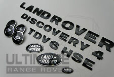 DISCOVERY 4 TDV6 HSE CENTRE CAP BLACK BONNET LETTERING GRILL REAR BACK BADGE SET