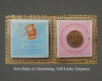 Personalised Lucky Sixpence Baby Boy Girl Christening/ Naming Day/New Baby Gift