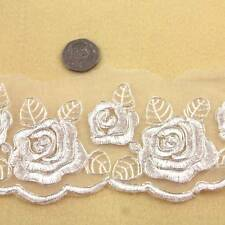 1 METRE IVORY/CREAM LACE WITH SILVER TRIM 65mm WIDTH BRIDAL TRIMMING HL1447