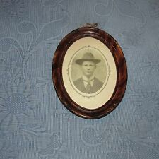 Antique Victorian Metal Grain Painted Oval Picture Frame & Photo of a Man & Hat