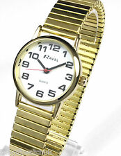 Ravel Ladies New BIG NUMBERS Gilt Expander Bracelet Watch, Easy to Read Watches