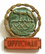 g374 Rome 1960 Olympic Games UFFICIALE original official badge red enamel