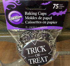 "Wilton Halloween ""Trick Or Treat"" Cupcake Liners 75 Count - Lot 2 Pks 150 Liners"