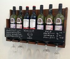 7 bottle wine rack. glass holder. chalk board price list pub club home hotel