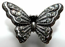 Anna Nova Jewellery Silver Butterfly Adjustable Statement Ring, Diamantes 5378