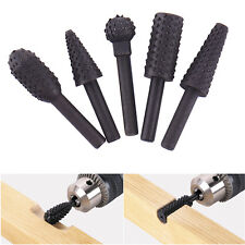 5pcs Rotary Rasp HSS Grinding Head Power Tool Woodworking Cutter Drill Bits New