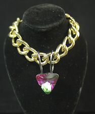"""LADIES CHUNKY GOLD CHAIN  PURPLE / GREEN """" HEART OF THE OCEAN"""" NECKLACE (CL9)"""
