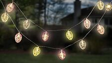 Easter- Pastel Sparkle Scroll Design Easter Egg Led String Lights -Holiday Party