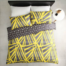 ESQUE by Logan and Mason SPLICED YELLOW King Size Bed Doona Quilt Cover Set NEW
