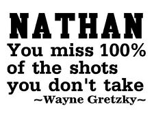 HOCKEY Wayne gretzky quote wall decal stickers personalized with your NAME