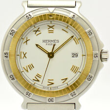 Auth HERMES Captain Nemo Quartz  White Dial Stainless & Gold Women's Watch #4616