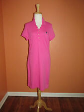 New Ralph Lauren Sport Size M Hot Pink Short Sleeve Interlock Polo Shirt Dress