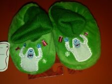NWT TODDLER GREEN CHRISTMAS SLIPPERS CUFFED FAUX FUR SNOW MONSTER XS 1-2