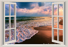 Ocean Waves Beach Sand Window View Repositionable Color Wall Sticker Wall Mural