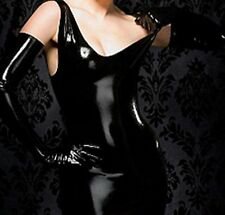 Sexy Black Faux Latex Catsuit Completely Crochless Low Neck Sleeveless