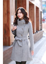 Women Thicken Warm Winter Woolen Trench Coat Parka Overcoat Long Jacket Gray S
