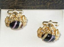 Victorian Style Cufflinks Gold Tone with Stones, Vintage, in Original Box