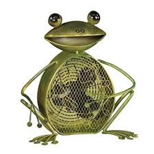 Frog Table Fan Small Retro Figurine Desk Decor Portable Electric Green Metal