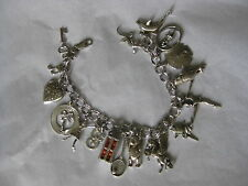 STERLING SILVER CHARM BRACELET 17 CHARMS BALLET CHARMS + MOVEABLE CHARMS others